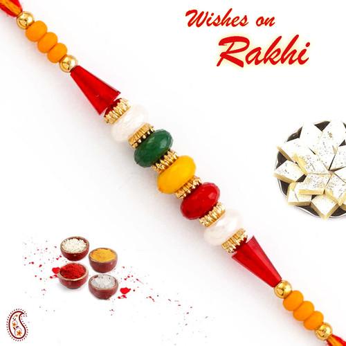 Aapno Rajasthan Tri Color Beads Studded Mauli Rakhi