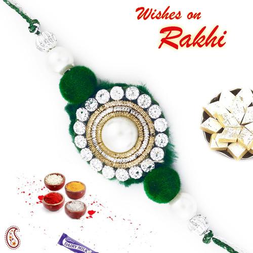 Aapno Rajasthan Green & White Crystal Rakhi with Zardozi Work