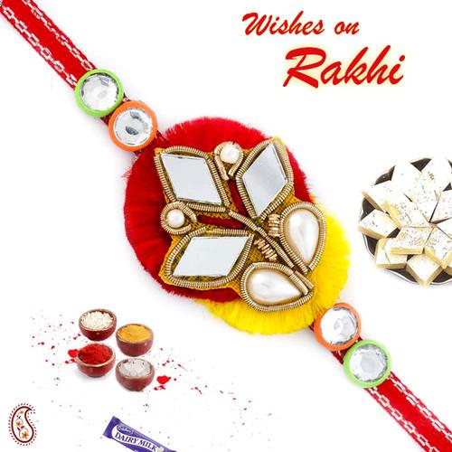 Aapno Rajasthan Mirror Work Red & Yellow Zardosi Rakhi