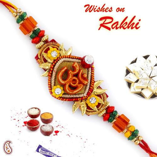 Aapno Rajasthan Yellow Floral Beads Studded OM Motif Rakhi