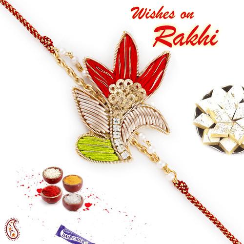 Aapno Rajasthan Beautiful Red & Green Rich Zardosi Work Rakhi
