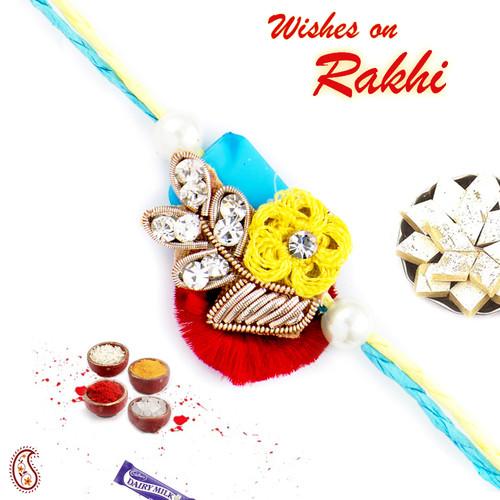 Aapno Rajasthan AD Studded Multicolor Zardosi Rakhi