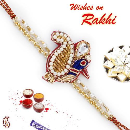 Aapno Rajasthan Peacock & Paisley Design Zardosi Rakhi