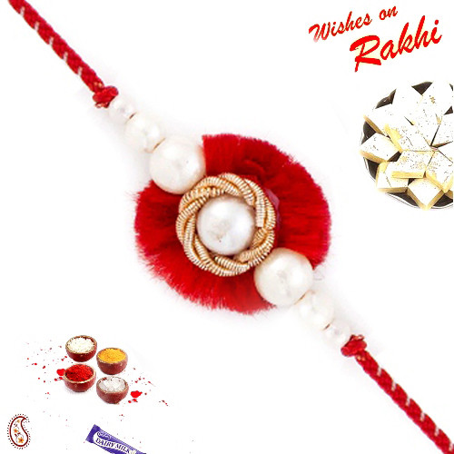 Aapno Rajasthan Red Base Pearl Studded Zardosi Rakhi