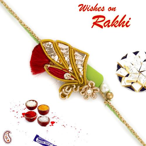 Aapno Rajasthan Red and Green Enticing Zardosi Rakhi