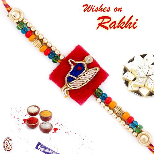 Aapno Rajasthan Zardosi work Peacock Rakhi with Golden Beads