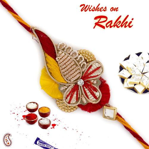 Aapno Rajasthan Red & Orange Charming Zardosi Rakhi