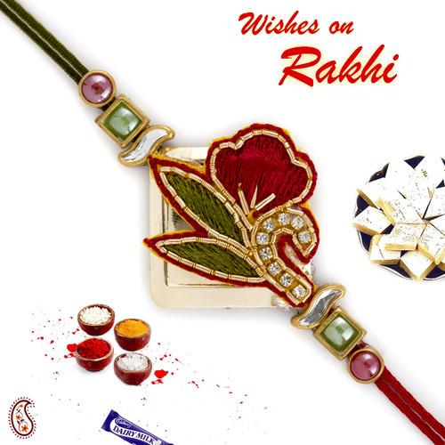 Aapno Rajasthan Green & Red Floral Zardosi Rakhi with Mulitcolour Beads