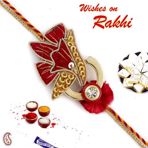 Aapno Rajasthan Beautiful Red and Golden Flower Zardose Rakhi