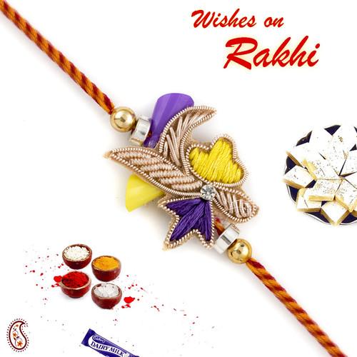 Aapno Rajasthan Charming Yellow and Violet Zardosi Rakhi