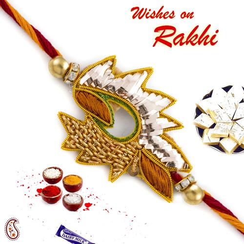 Aapno Rajasthan Golden Foil Floral zardosi Rakhi