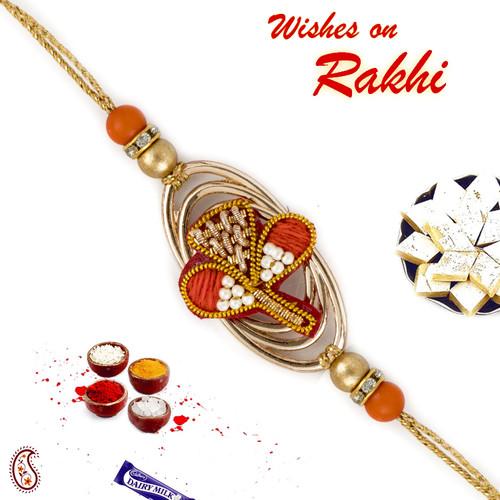 Aapno Rajasthan Metallic Base Flower Zardosi Rakhi with Golden Beads