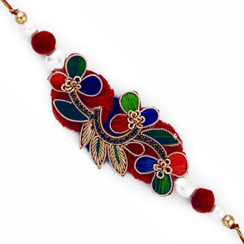 Multicolor Beautiful Rakhi with Zardozi work
