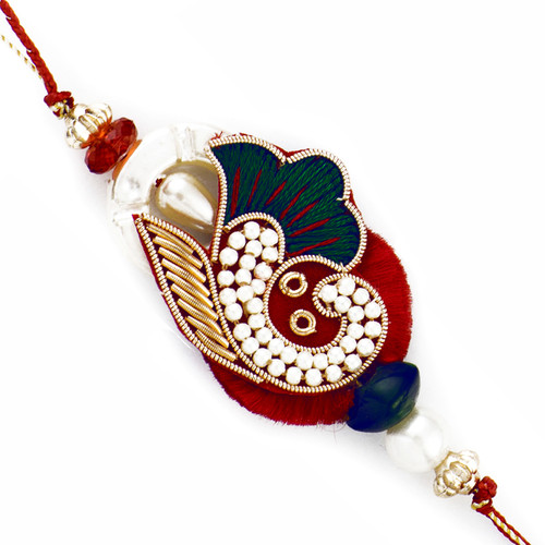 Stunning Green & Red Rakhi with Colorful Beads