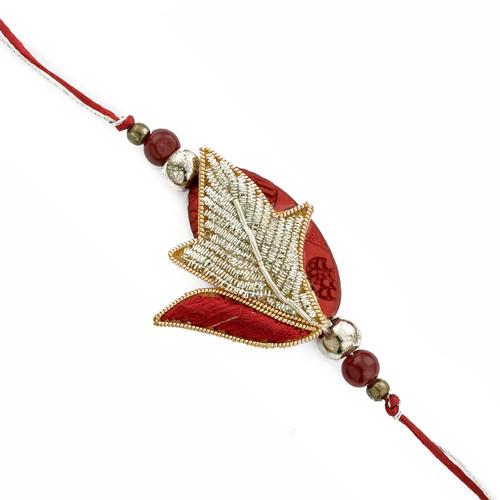 Gold and Red Sweet Zardosi Rakhi