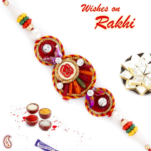 Red Base OM Rakhi with Colorful Beads