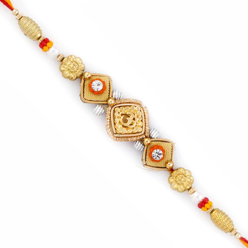 Golden Floral Style OM Motif Rakhi