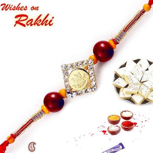 Aapno Rajasthan Shree Laxmi ji Rakhi with American Diamonds and beads