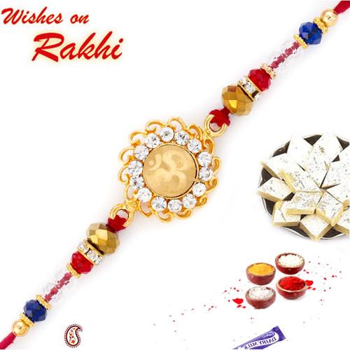 Aapno Rajasthan Circular Floral Design OM Rakhi