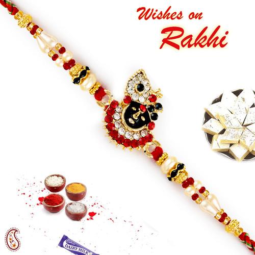 Aapno Rajasthan Red & White Beads Studded Shree Nath Ji Motif Rakhi