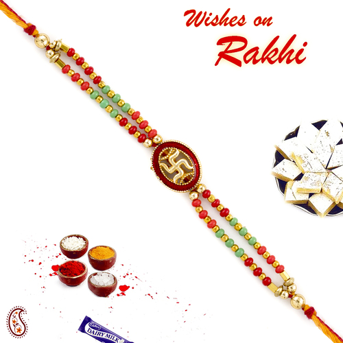 Aapno Rajasthan Swastik Mauli Rakhi with colourful Beads