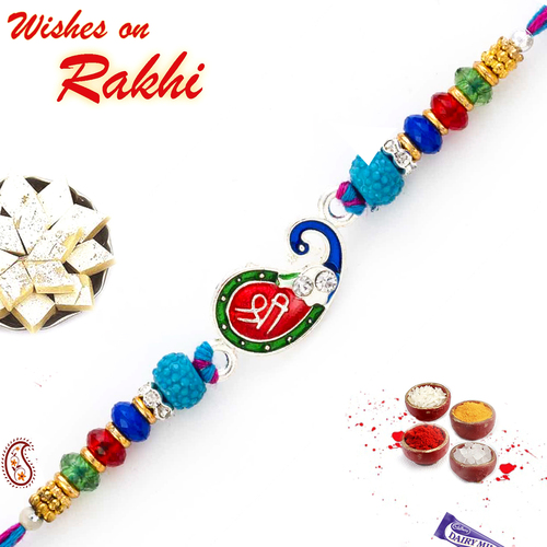 Aapno Rajasthan Peacock Style Rakhi with SHREE Motif