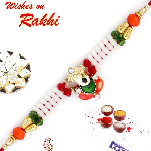 Aapno Rajasthan Red & Green Beads Ganesh Motif Beautiful Rakhi