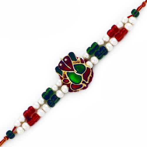 Green & Maroon Crystal Ganesh Rakhi with Colorful Beads