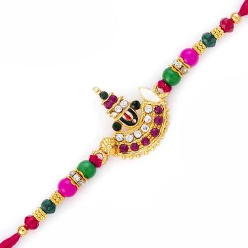 AD & Multicolor Stone Studded Lord Motif Rakhi