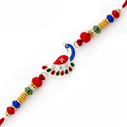 Lovely Colorful Beads Peacock Base Swastik Rakhi