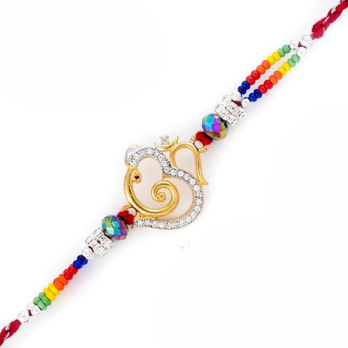 Multicolor Beads Amazing Ganesh & OM Motif Rakhi