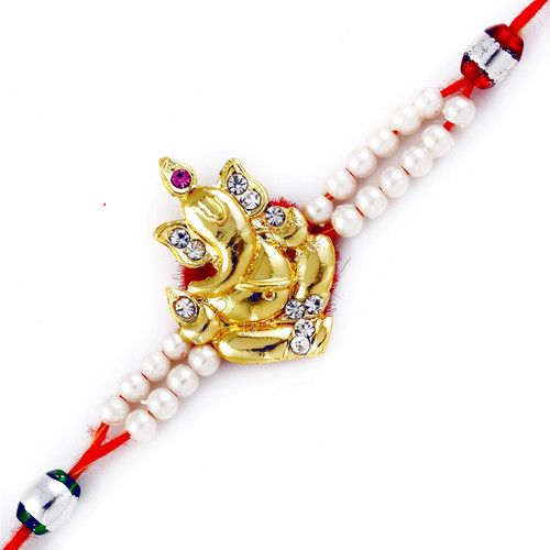 White Beads & Golden Ganesha Motif Rakhi