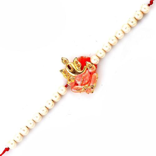 Golden Ganesha Motif & White Beads Rakhi
