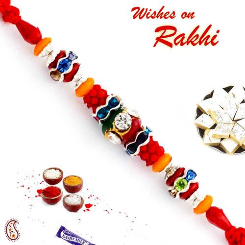 Aapno Rajasthan Multicolor Beads & AD Studded Stunning Rakhi