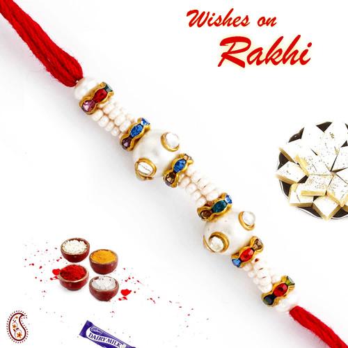 Aapno Rajasthan Pearl & Crystal Beads Embellished Designer Rakhi