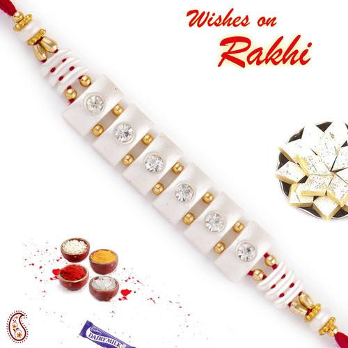 Aapno Rajasthan AD Studded White String Base Rakhi