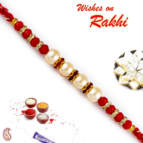 Aapno Rajasthan Round Circular Beads Embellished Pearl Rakhi