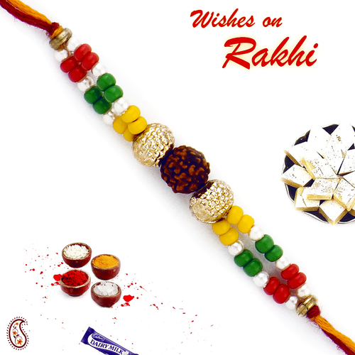 Aapno Rajasthan Colorful Beads Rudraksh Rakhi