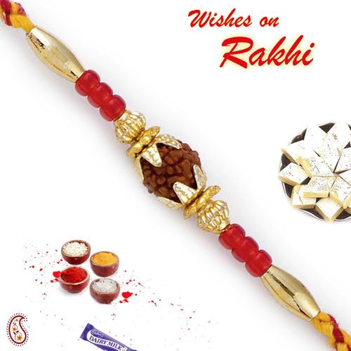 Aapno Rajasthan Red Beads Rudraksh Rakhi