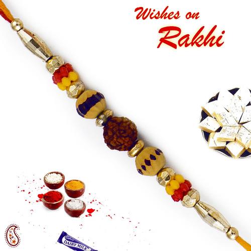 Aapno Rajasthan Yellow & Red Beads Rudraksh Rakhi