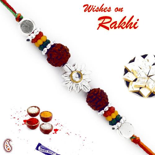 Aapno Rajasthan Multicolor Beads Rudraksh Floral Shape Rakhi