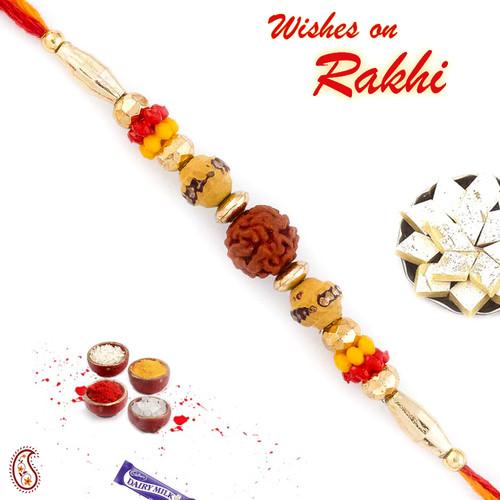 Aapno Rajasthan Yellow & Red Beads Studded Elegant Rudraksh Rakhi