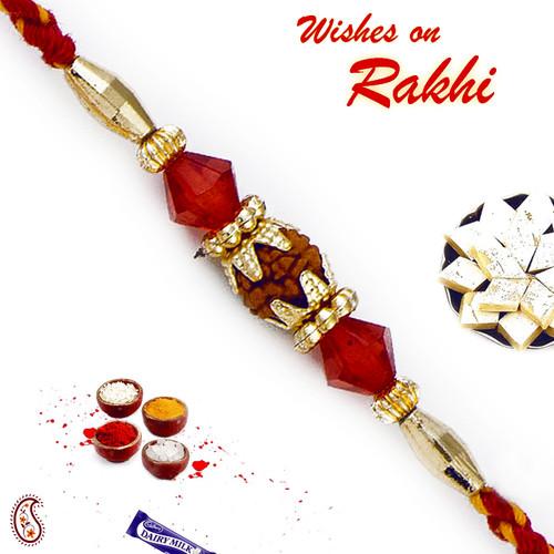 Aapno Rajasthan Small Rudraksh Between Red Beads Mauli Thread Rakhi