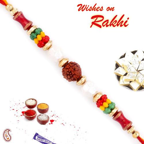 Aapno Rajasthan Multicolor Beads Studded Elegant & Sober Rudraksh Rakhi