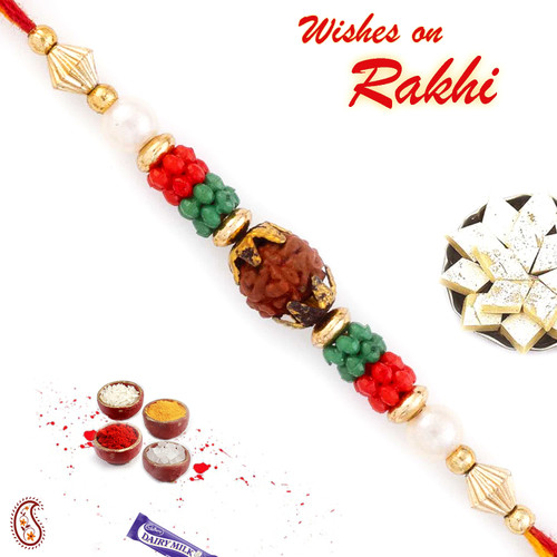 Aapno Rajasthan Red & Green Beads Studded Beautiful Rudraksh Rakhi