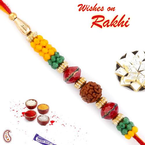 Aapno Rajasthan Yellow & Green Multiple Beads Studded Rudraksh Rakhi
