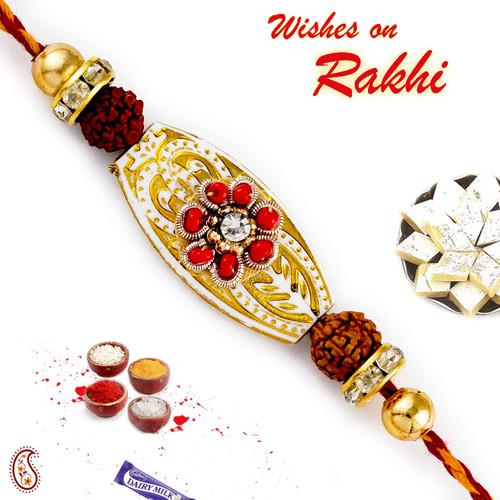 Aapno Rajasthan Red Crystal Beads Floral Design Rudraksh Rakhi