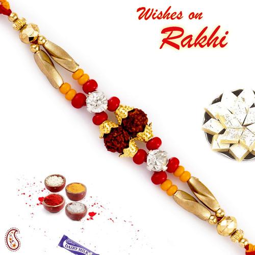 Aapno Rajasthan Golden Beads Twin Rudraksh Rakhi