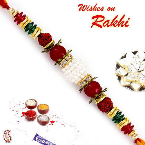 Aapno Rajasthan Multicolor Beads Studded Dual Rudraksh Rakhi