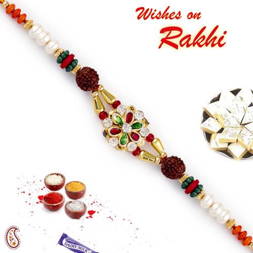 Aapno Rajasthan Meenakari Floral Design Dual Rudraksh Rakhi